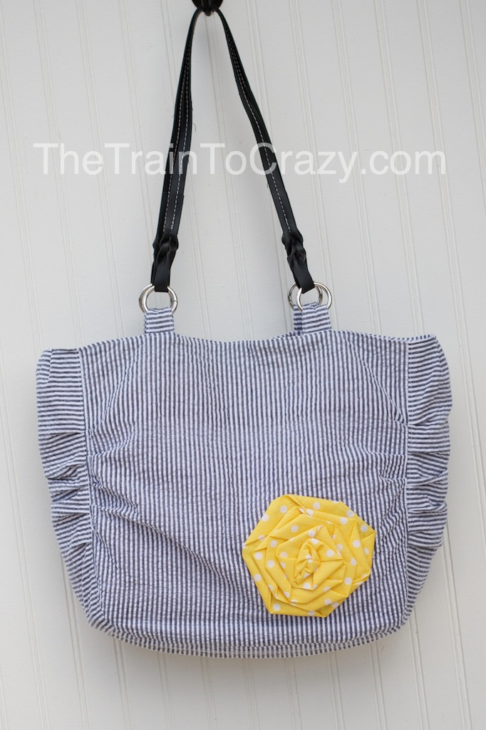 Gray striped handmade purse w