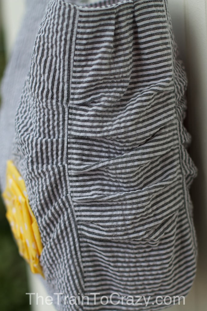 Gray striped handmade purse 3w
