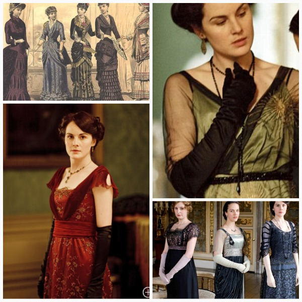 Downton dresses collage