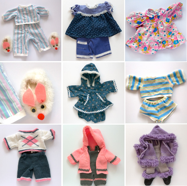 handmade homemade sewn knitted doll clothes