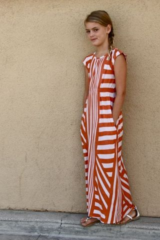 Go To Signature Dress sewing pattern red striped maxi dress by This Mama Makes Stuff