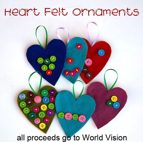 Felt heart and button ornaments