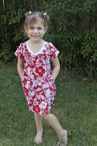 Go To Signature Dress sewing pattern inset pockets red floral dress