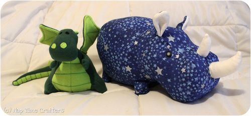 DIY dragon and rhino softie stuffed animal fluffy sewing pattern