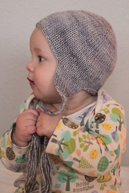knit baby hat with ear flaps