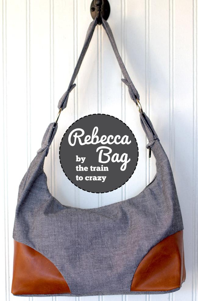 Fun handbag with leather corners #sewing by thetraintocrazy.com
