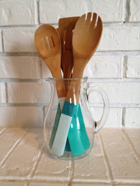 hand dipped color block wood utensils