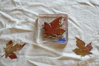 hand stamped fabric autumn leaves