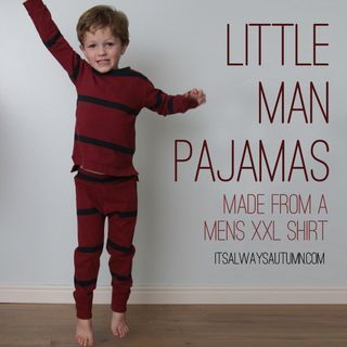 little man pajamas made from mens shirt tutorial