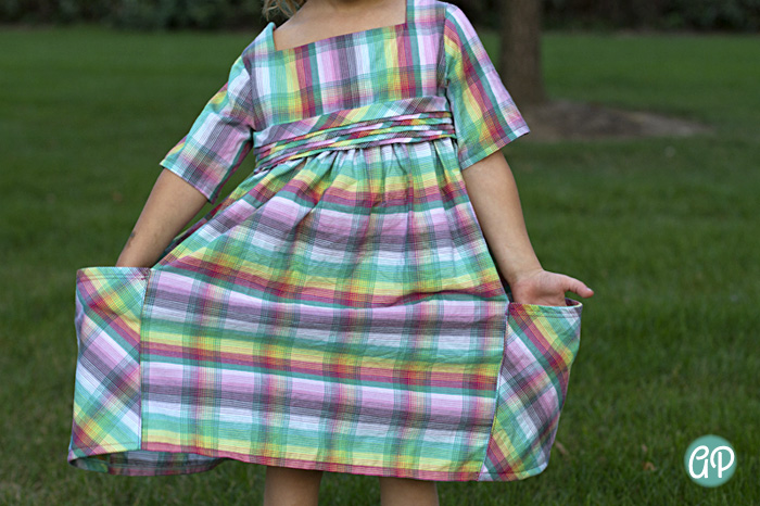 Sally Dress- big pockets, square neck. Love the pleats!